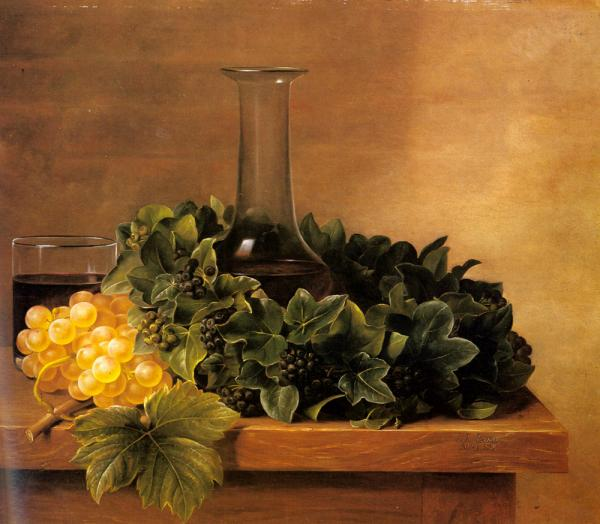 A Still Life with Grapes and Wine on a Table