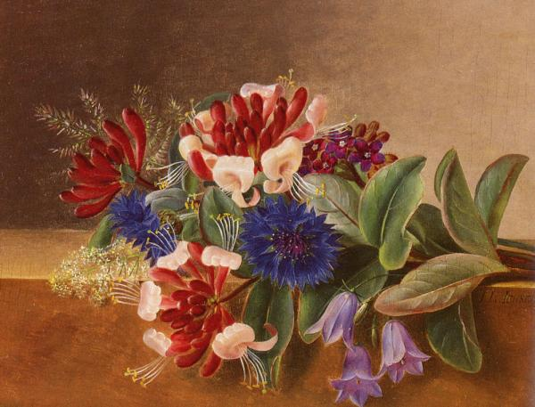 A Still Life with Honeysuckle, Blue Cornflowers and Bluebell