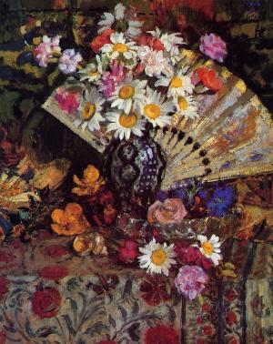 Still Life with Fan and flowers in the vase
