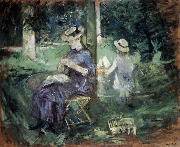 Girl Sewing in a Garden