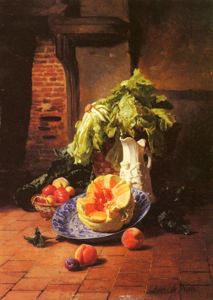 A Still Life With A White Porcelain Pitcher, Fruit And Vegetable