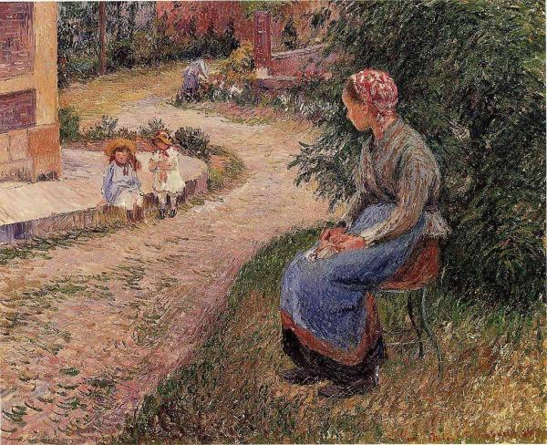 A Servant Seated in the Garden at Eragny