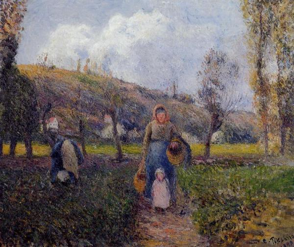 Peasant Woman and Child Harvesting the Fields, Pontoise