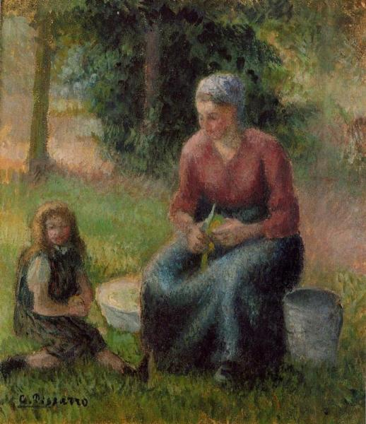 Peasant Woman and Her Daughter, Eragny