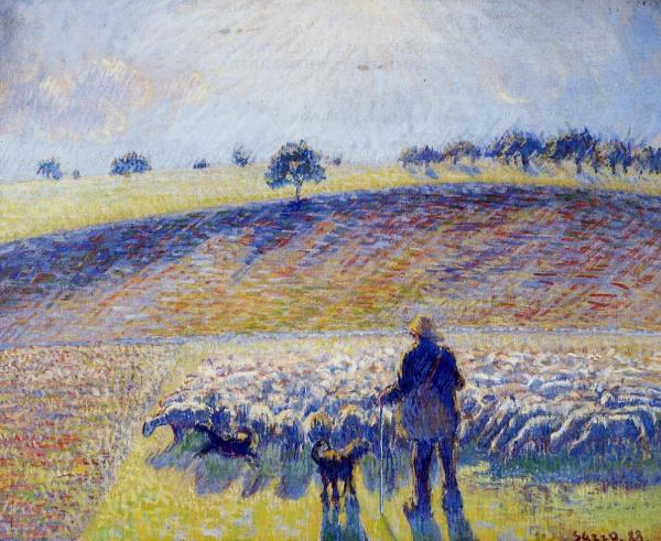 Shepherd and Sheep,oil paintings on canvas