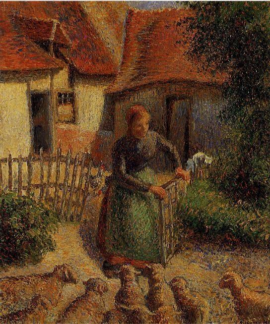 Shepherdess Bringing in the Sheep