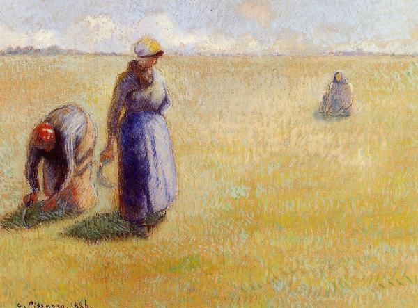 Three Women Cutting Grass