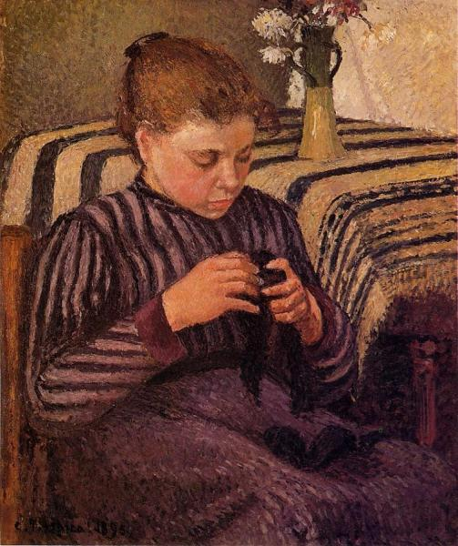 Young Girl Mending Her Stockings