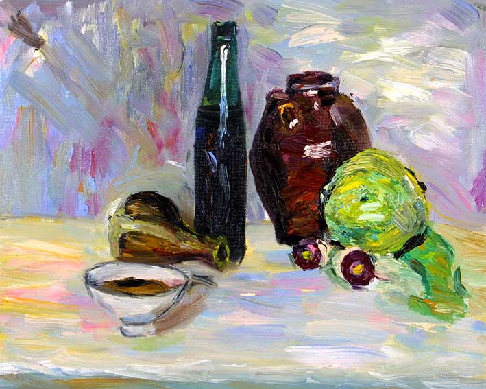 Still Life with a Bottle, Pottery, Onions, and a Lettuce