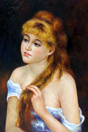 Young Woman Braiding Her Hair