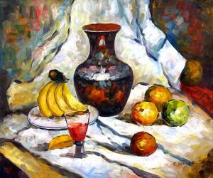 Still Life with Fruit Pieces, a Carafe and a Glass