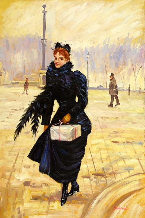 Lady with Wrapped Box