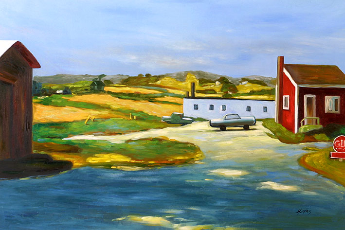 Long Island Landscape with Red Building