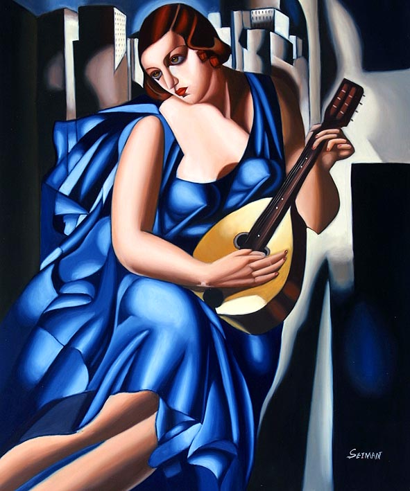 Lady in Blue with Guitar
