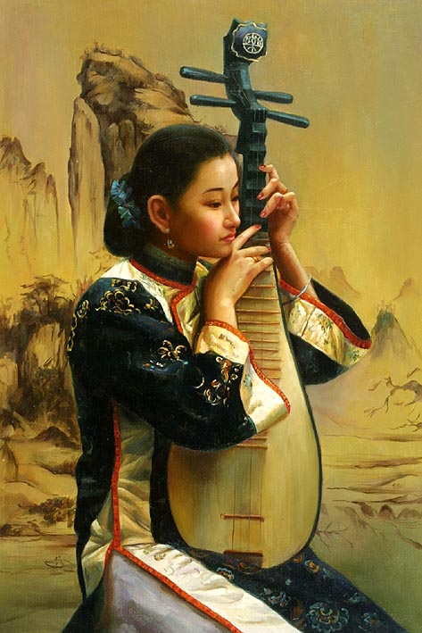 Asian Girl with Mandolin