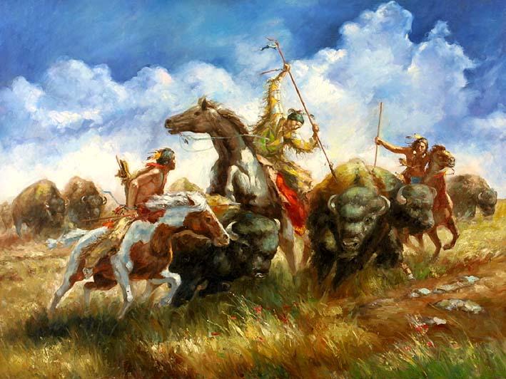 oil painting supplies - Buffalo Hunting