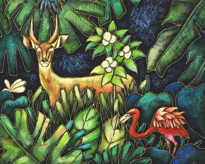 Deer With Flamingo