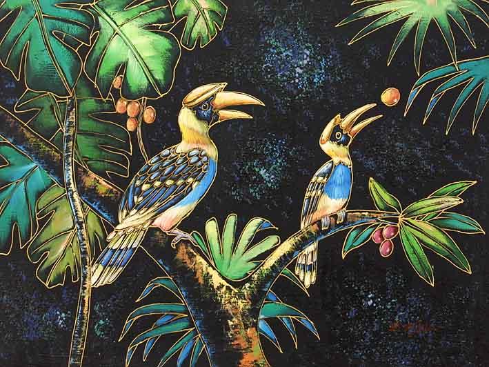 Hornbills Pecking Berries