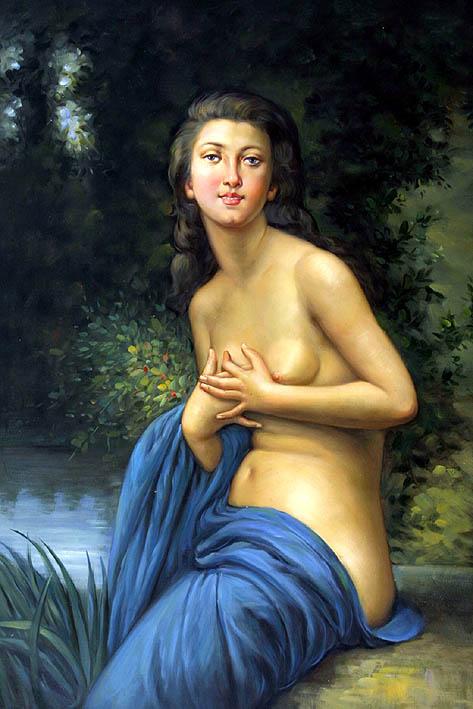 Nude Posing at Garden Pool