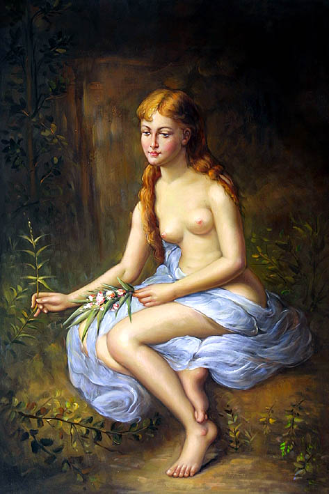 Young Woman with Flowery Twig