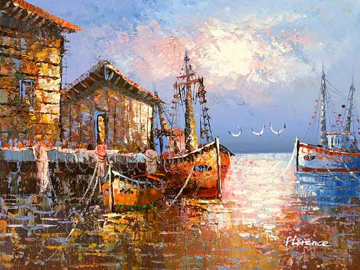 Old Spanish Harbor,oil paintings from photos