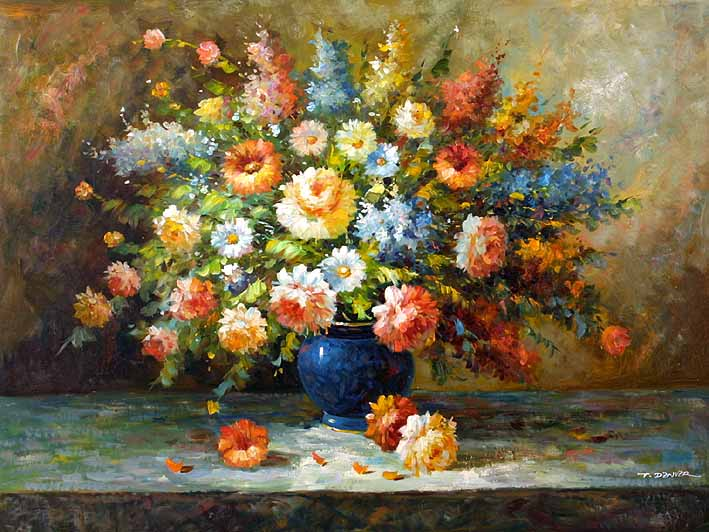 Floral Impression,oil painting of flowers