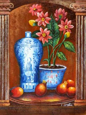 Still Life with Blue China, Red Flowers and Fruits