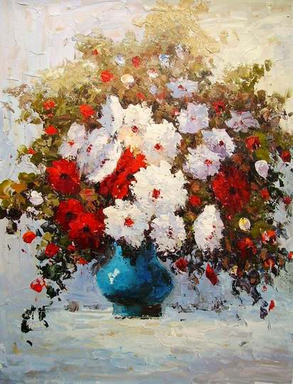 blooming flowers,oil painting of flowers