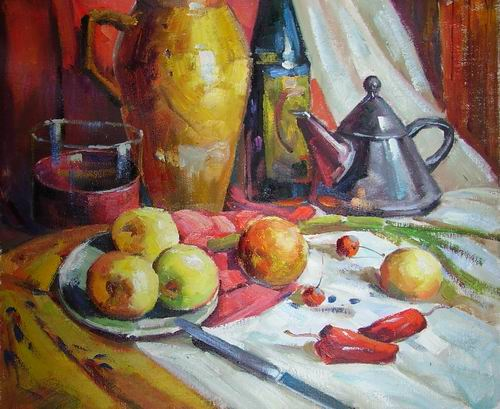 bowl,bottle and fruit in the plate
