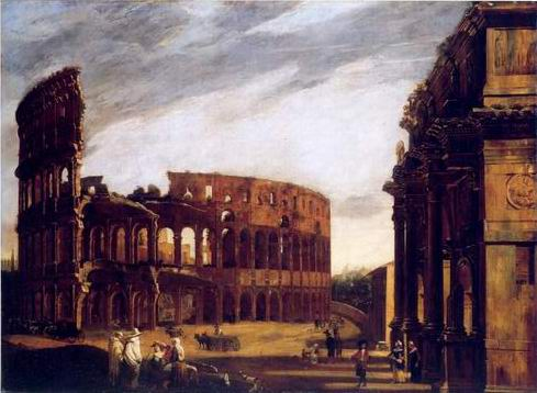 The Colosseum and the arch of Constantine from the