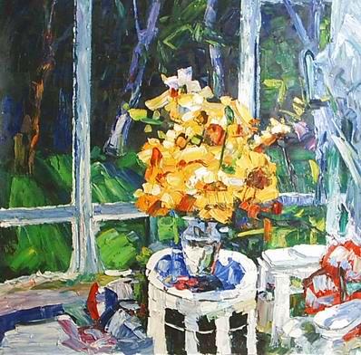 flower beside the window