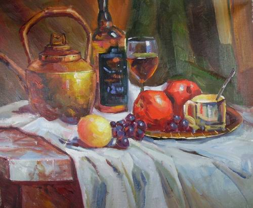 still life with pot and fruits