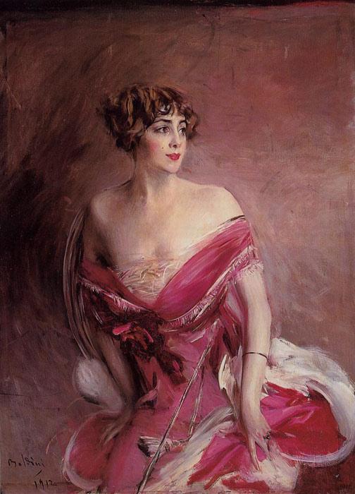 Oil Painting Reproduction of Boldini- Portrait of Mlle de Gillespie, La Dame de Biarritz