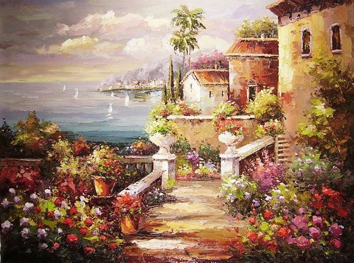 villa with sea view painting