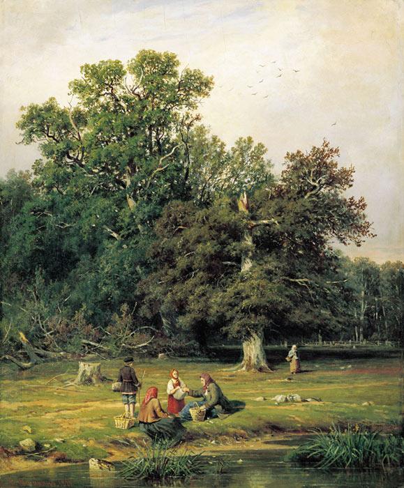Oil Painting Reproduction of Shishkin - Mushroom Hunting (Gathering Mushrooms)