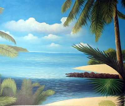 tropical landscape painting, a unknown artist paintings reproduction