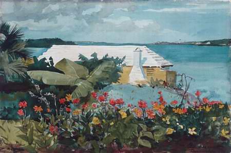 Flower garden by the sea
