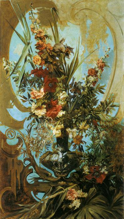 Hans Makart Oil Painting Reproductions - Grosses Blumenstuck [Large Flower Piece]
