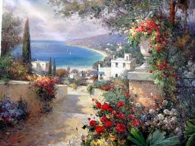 Mediterranean Rose Garden oil painting