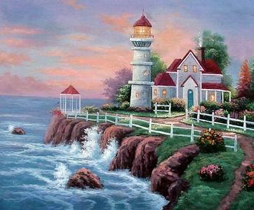 Mediterranean seaside Landscape oil painting