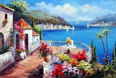 a miniature painting visual arts Mediterranean Sea oil painting
