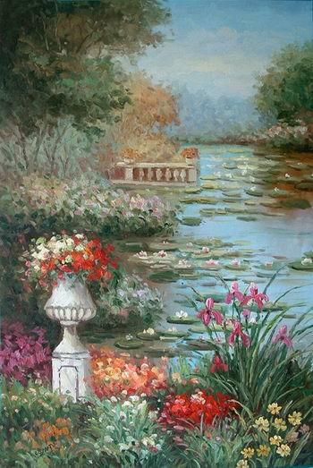 flowers oil painting Summer Garden Rose Garden Oil Painting Garden oil painting