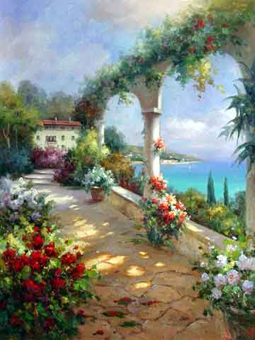 Mediterranean garden oil painting oil painting on canvas for Garden painting images