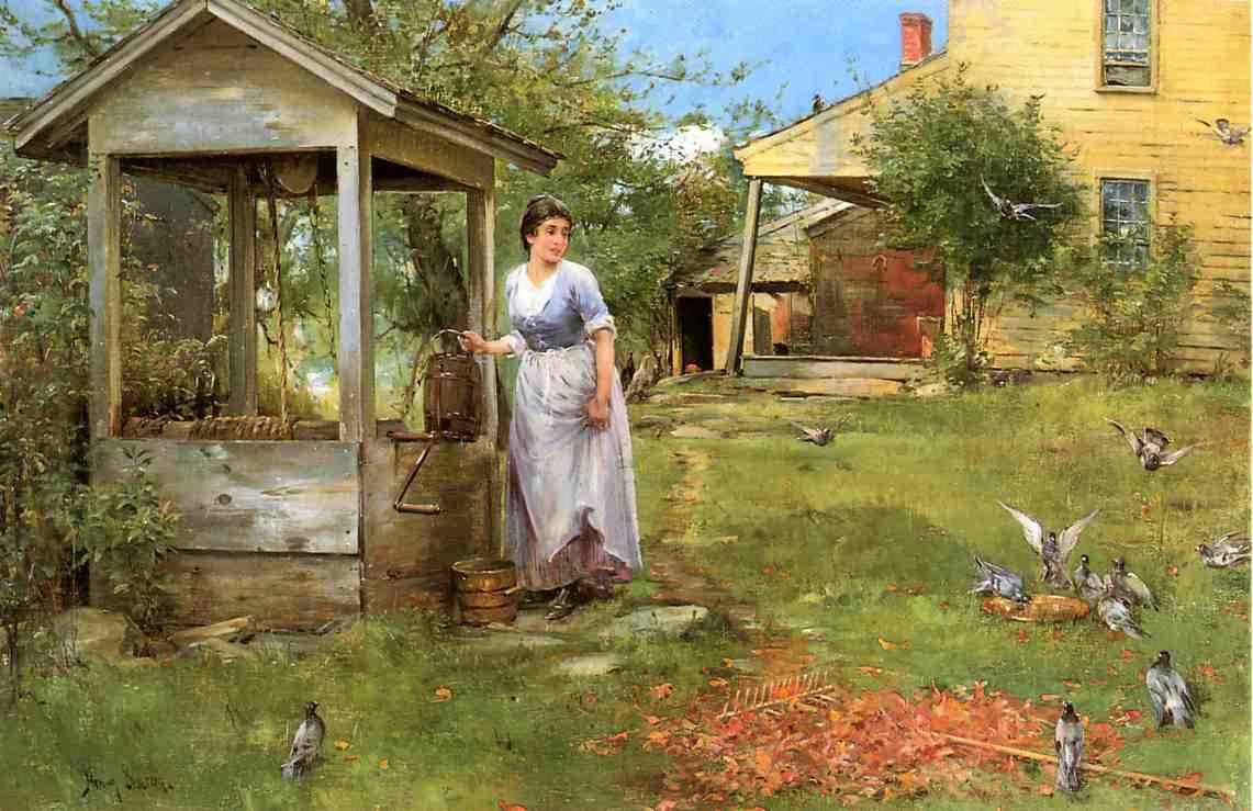 Garden scenery oil painting