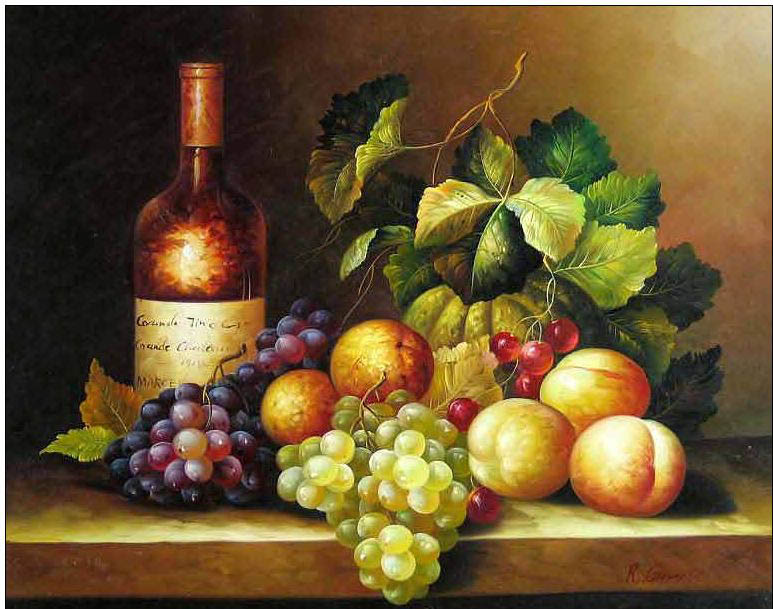 Cuisine Oil Painting Cuisine Wine Amp Grapes Oil Painting
