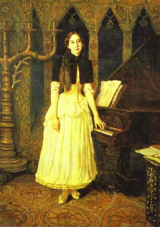 Oil painting:Portrait of Elena Prakhova. 1894