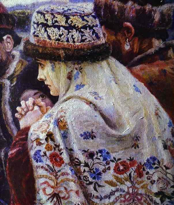 Oil painting:The Boyarynia Morozova. Detail. 1887