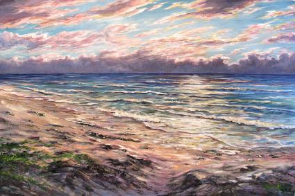 Last Watch, Impressionism Seascape, Sunset