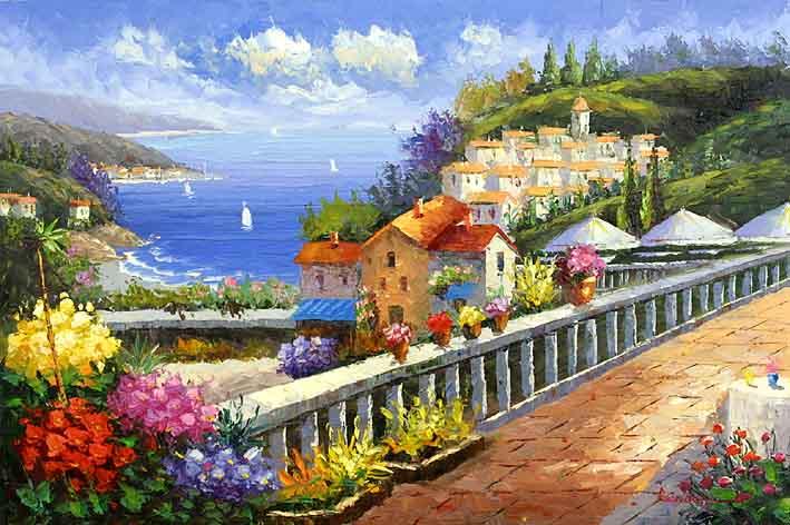 Mediterranean Oil Paintings Canvas