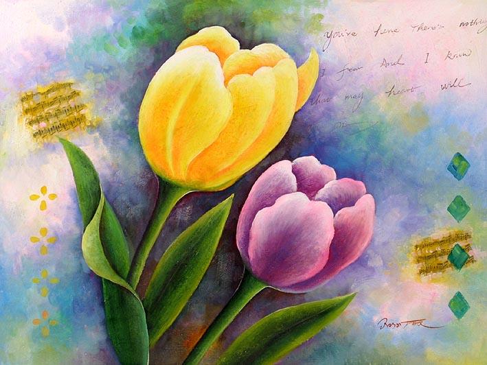 oil painting of flowers, Flowers in Detail